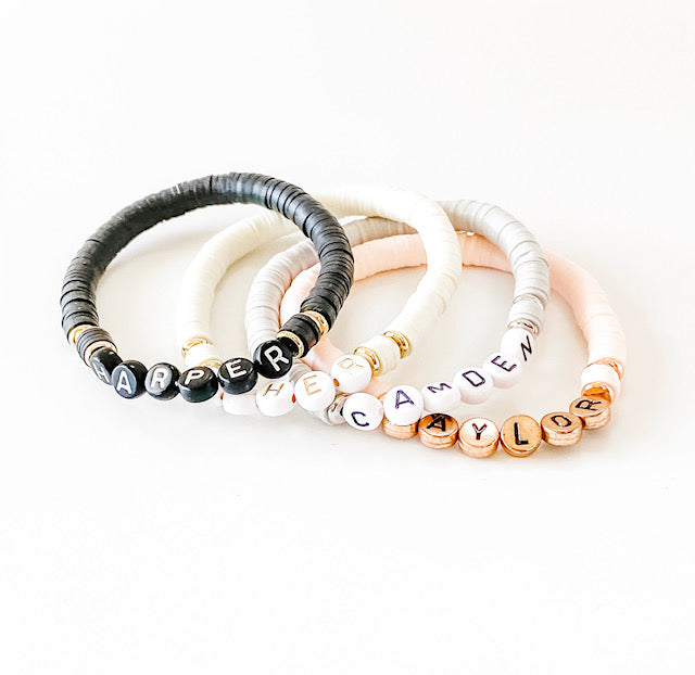 Design Your Own | Letter Bracelet with Disc Base Beads