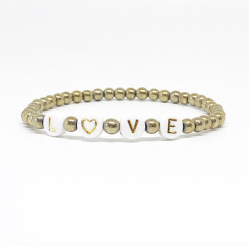 White and Gold | LOVE Beaded Letter Bracelet