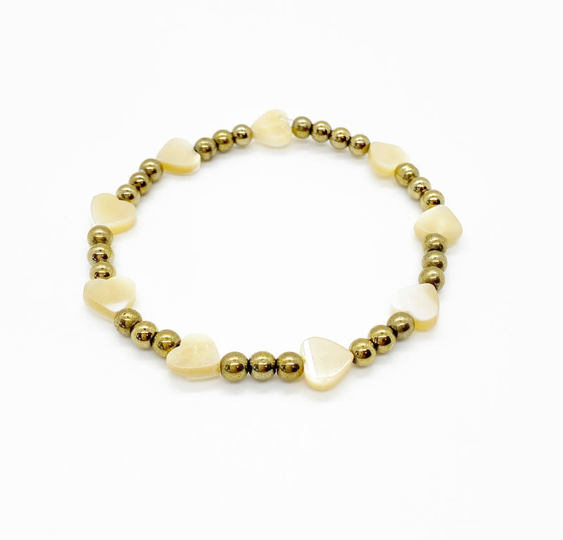 Mother of Pearl Heart Stack Bracelet