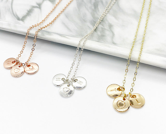 Initial Charm Necklace | Rose Gold