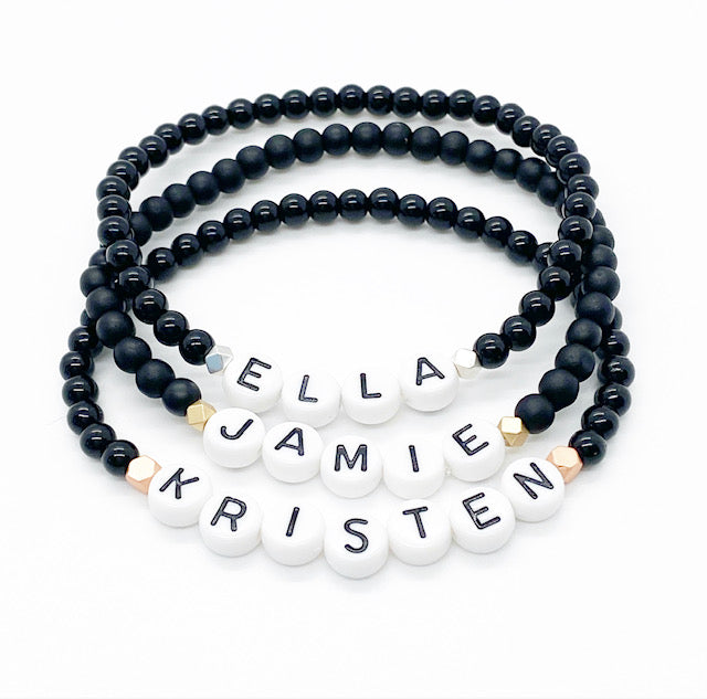 Design Your Own | Dainty Letter Bead Bracelet with Faceted Matte Hematite Accents