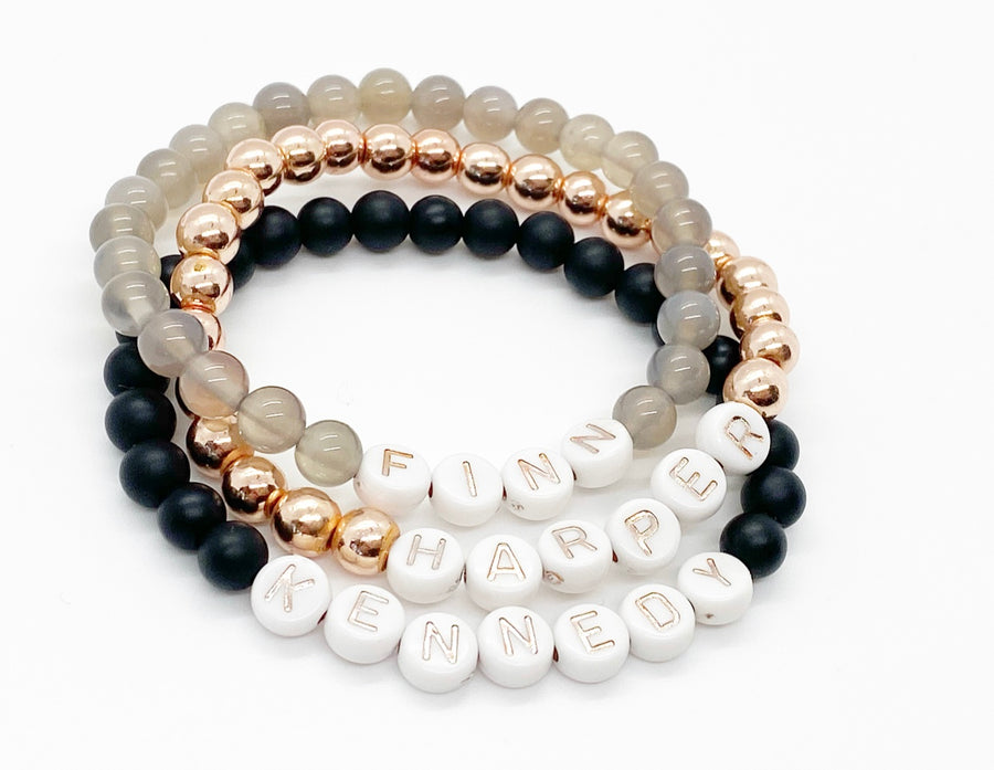 Design Your Own | White with Rose Gold Lettering Beaded Bracelet