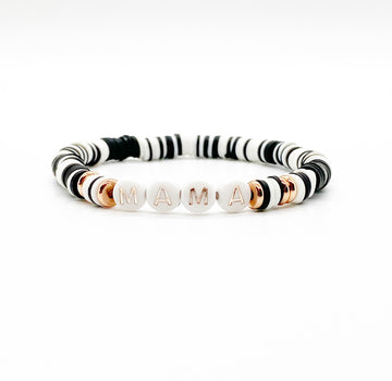 Design Your Own | Letter Bracelet with Black and White Disc Base Beads
