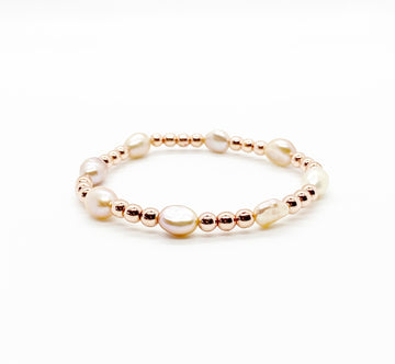 Blush Fresh Water Pearl and Rose Gold Stack Bracelet