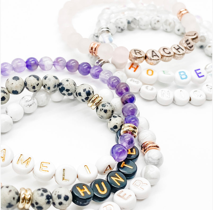 Design Your Own | Letter Bead Bracelets with GEMSTONE Base Beads
