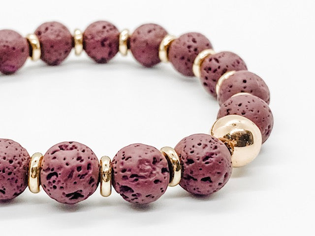 Gold Hematite and Burgundy Lava Rock Diffuser Bracelet