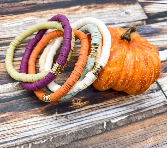 African Vinyl Disc Stack Bracelet | Limited Edition Fall Colors