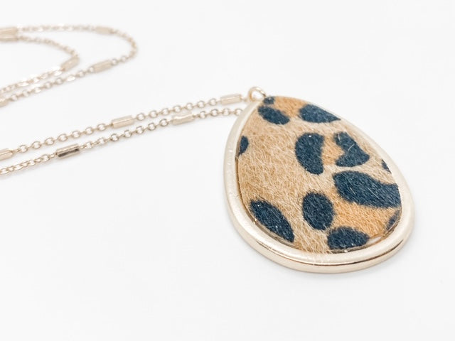 Leopard Tear Drop Pendant Necklace