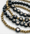 Design Your Own | Enameled Black & Gold 8MM Letter Bead Bracelet