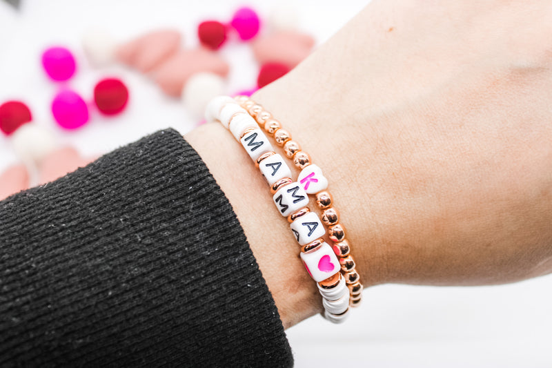 Design Your Own | Letter Bracelet with Disc Base Beads and Block Letter Beads