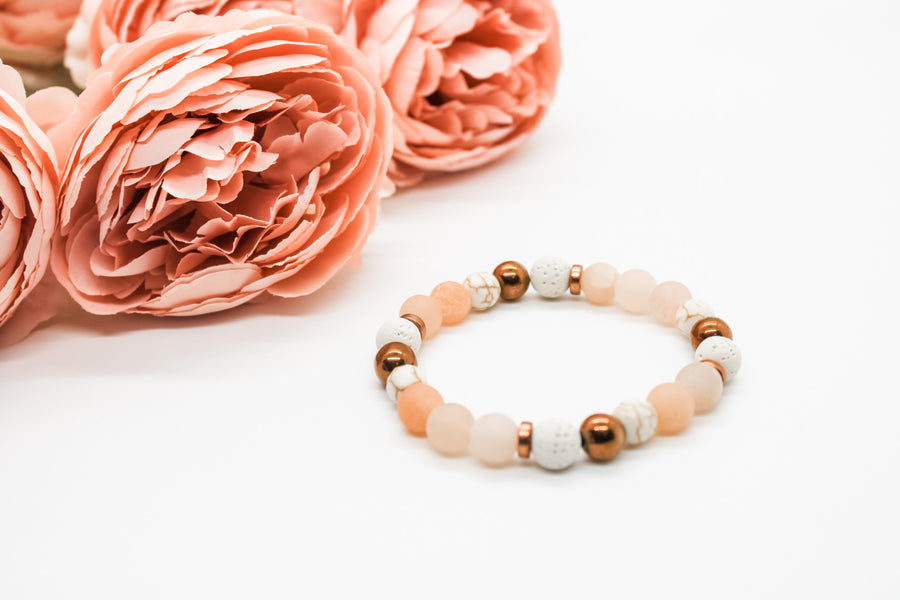 Copper and Pink Aventurine Diffuser Bracelet