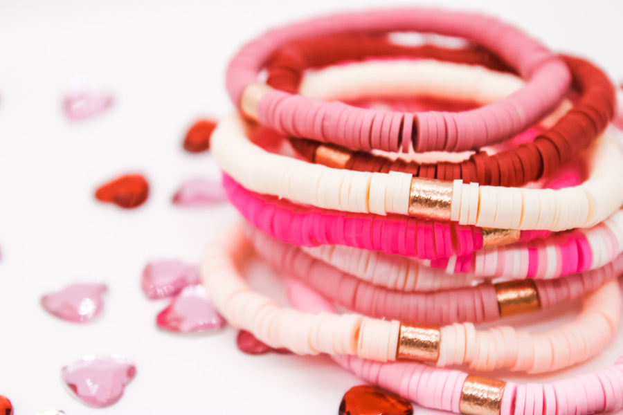 African Vinyl Disc Bracelet | Limited Edition Valentines Colors