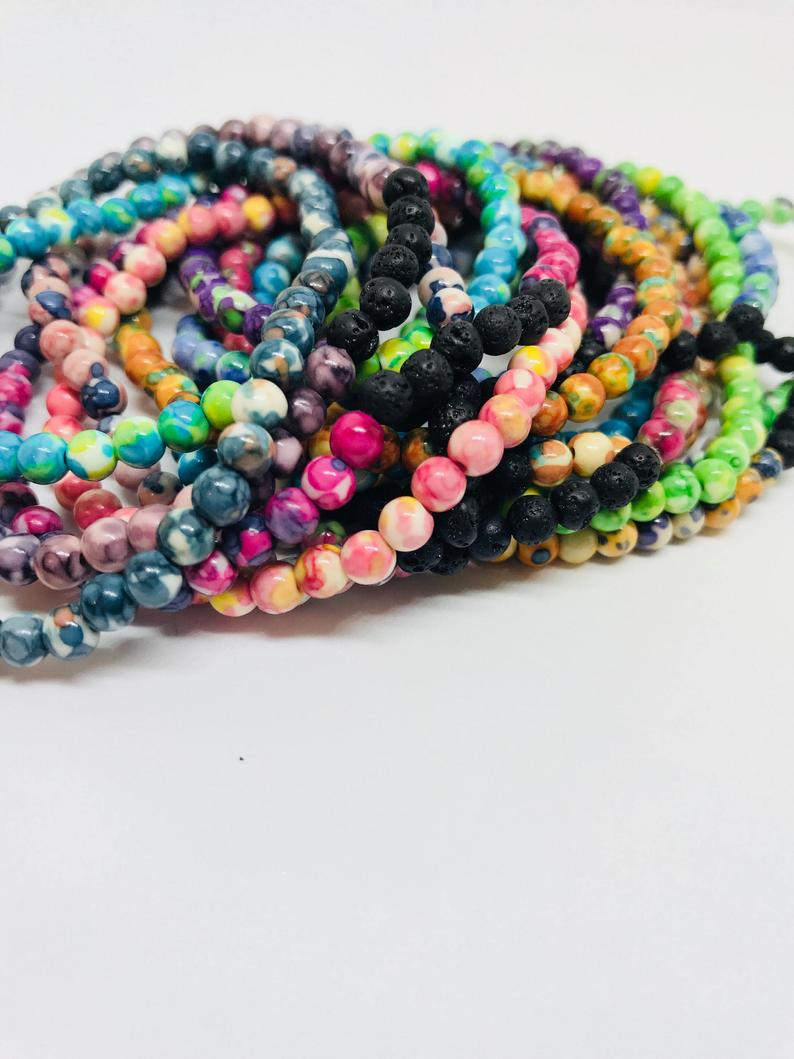 Small (4MM) Watercolor Stack Diffuser Bracelets