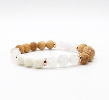 Star Cut Rose Quartz, Coral and Wood Diffuser Bracelet