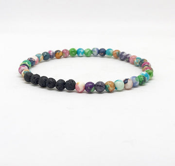 Multi Color Watercolor Lava Rock Diffuser Bracelet for Essential Oils/Aromatherapy, Bracelet Diffuser, Lava Rock Bracelet