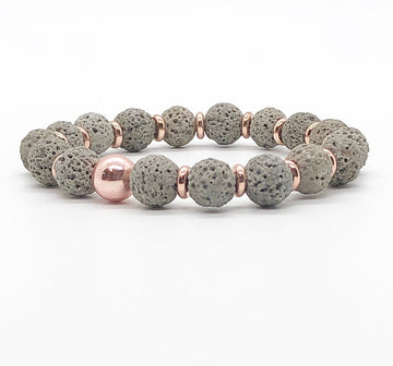 Gray Lava Rock, Rose Gold, Hematite
