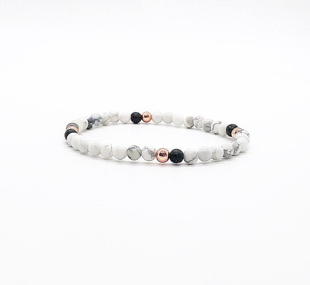 Dainty White Howite, Rose Gold Hematite & Lava Rock Diffuser Bracelet, Diffuser Jewelry