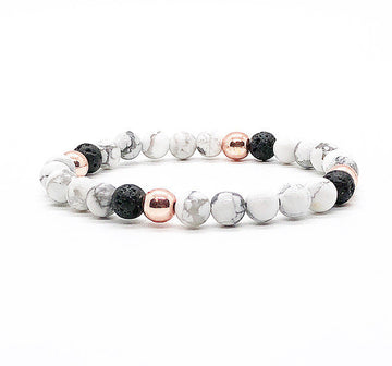 6MM Rose Gold Hematite, White Howlite, Lava Rock Diffuser Bracelet