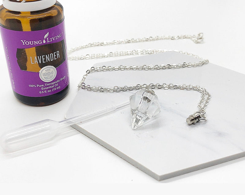 Crystal Essential Oil Diffuser Necklace, Bottle Pendant, Bottle Necklace