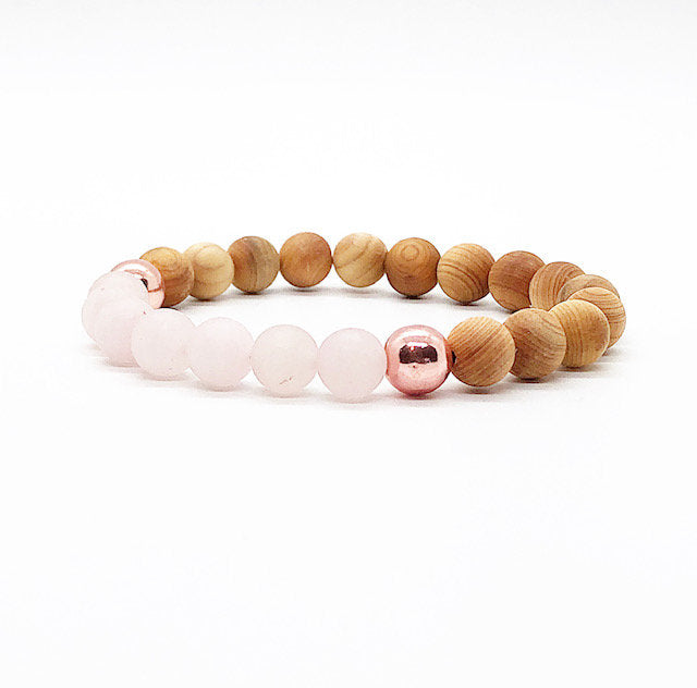 Rose Quartz, Rose Gold, Hematite