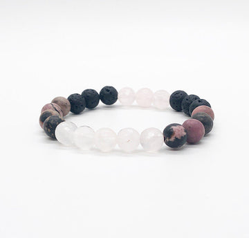 Rose Quartz, Rhodonite & Lava Rock Diffuser Bracelet, Gemstone Bracelet