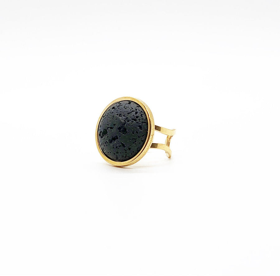 Large (20MM) Adjustable Gold Lava Rock Diffuser Ring, Statement Ring, Big Ring