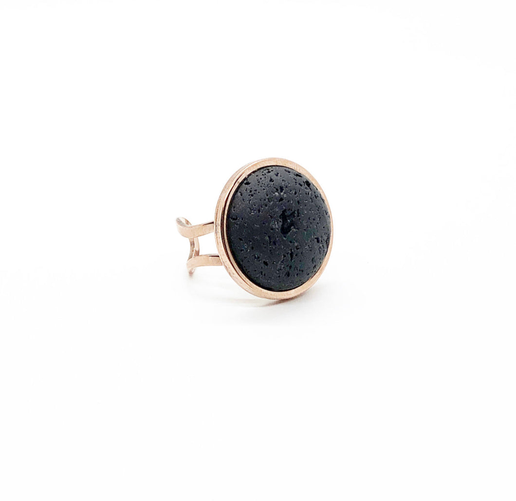 Large (20MM) Rose Gold Lava Rock Diffuser Ring