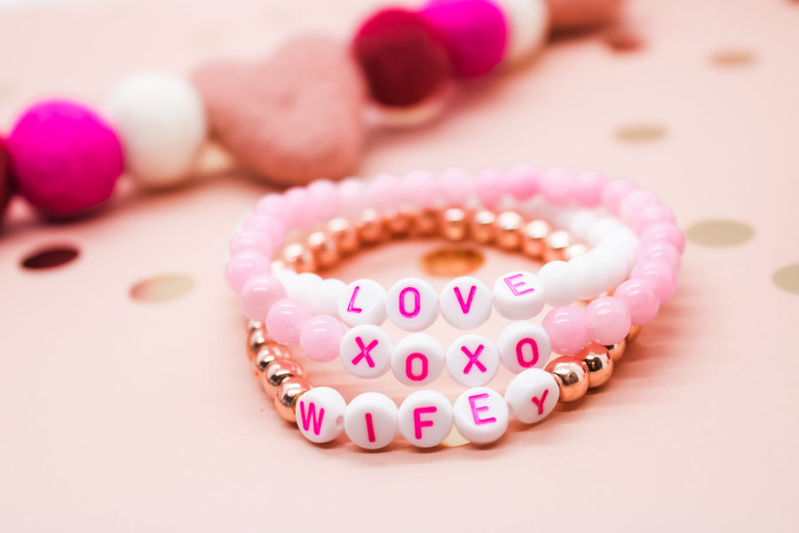 Design Your Own | LIMITED EDITION White with Hot Pink Lettering Beaded Bracelet