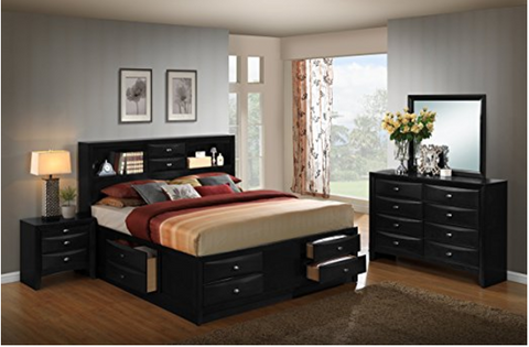 Modern King Blemerey Black Bedroom Set By Roundhill Furniture