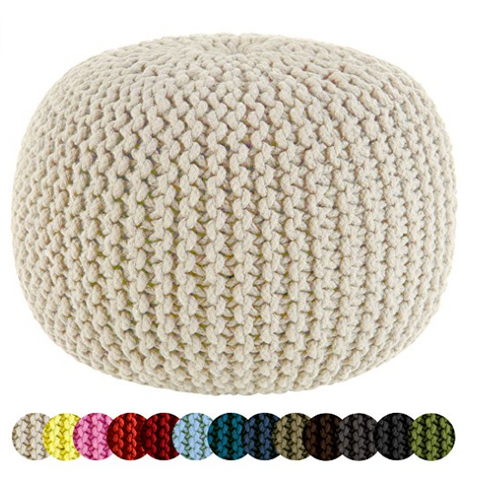 White Knitted Cable Style Dori Poof Chair By Cotton Craft