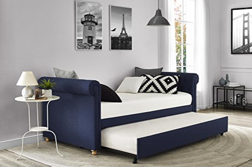 Upholstered Backless Trundle Day Bed by DHP - Blue & White - Twin
