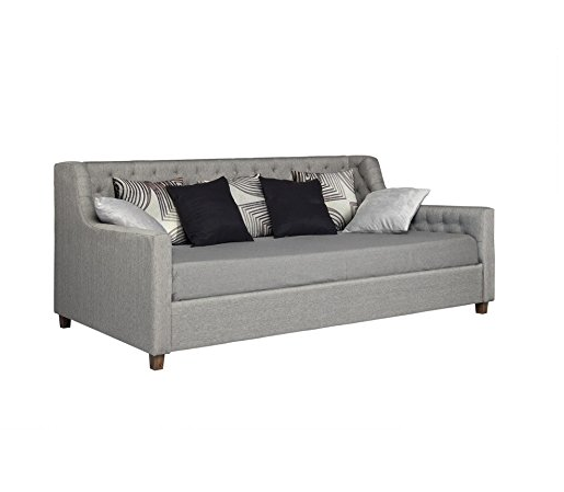 Modern Gray Day Bed with Twin Mattress by DHP - Upholstered Fabric