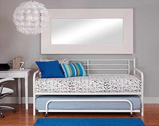 White Metal Trundle Day Bed by DHP - Twin
