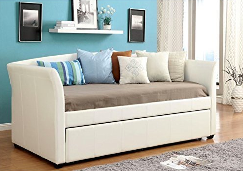 White Leather Twin Day Bed with Pull-Out Trundle by Furniture of America