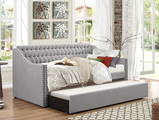 Fancy Tufted Twin Day Bed with Pull-Out Trundle by Homelegance