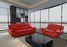 Contemporary Red Leather Sofa Set by GTU Furniture