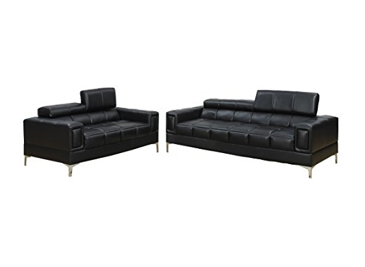 Contemporary Black Leather Sofa Set By Poundex ...