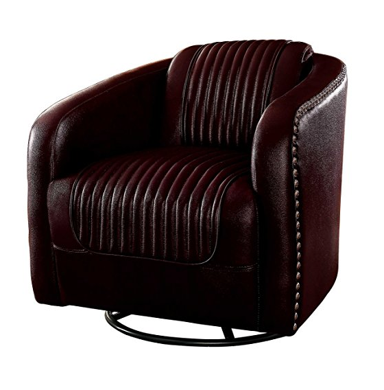 Brown Leather Art Deco Club Chair by Homelegance