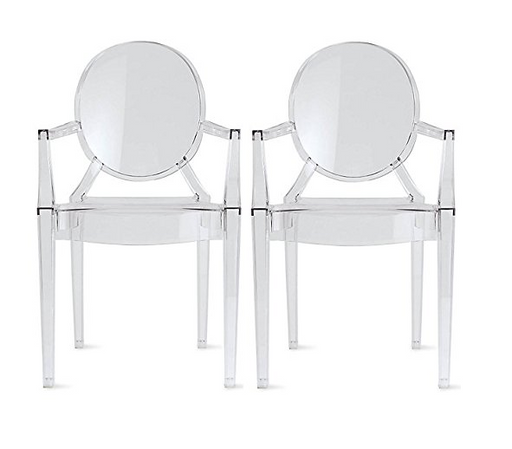 Clear Art Deco Dining Room Chairs by 2xhome - Polycarbonate Plastic