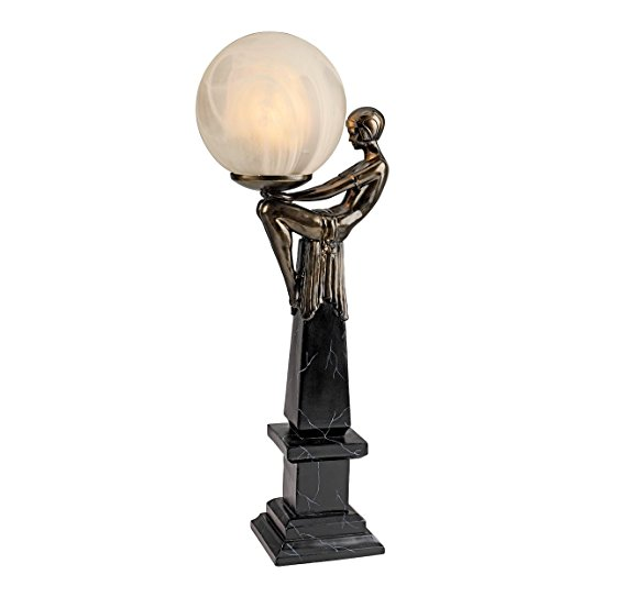 Art Deco Goddess of the Stars Sculpture Lamp by Toscano