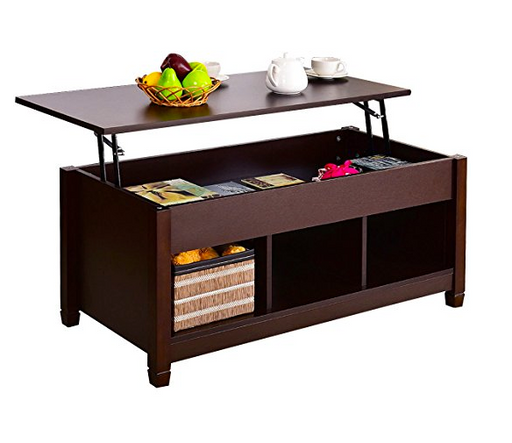 Espresso Brown Lift Top Coffee Table by Tangkula