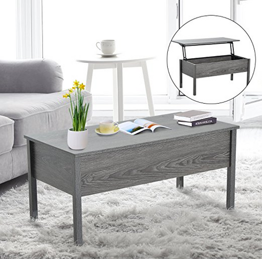Modern Gray Lift Top Coffee Table by HOMCOM