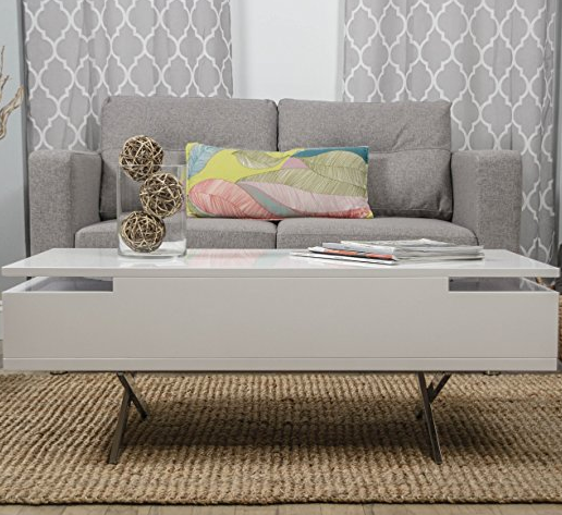 Ultra Modern White Lift Top Coffee Table by Matrix