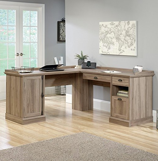 Salt Oak L Shaped Office Desk By Sauder ...