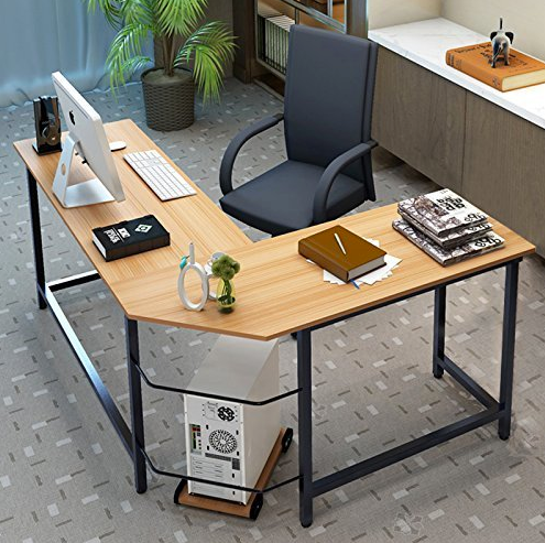 Modern L-Shaped Office Desk by Tribesigns - Teak