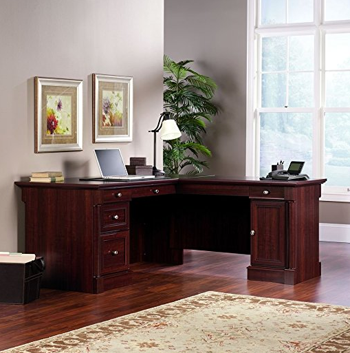 Elegant L-Shaped Office Desk by Sauder - Cherry Finish