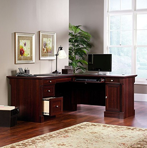 Elegant L Shaped Office Desk By Sauder   Cherry Finish