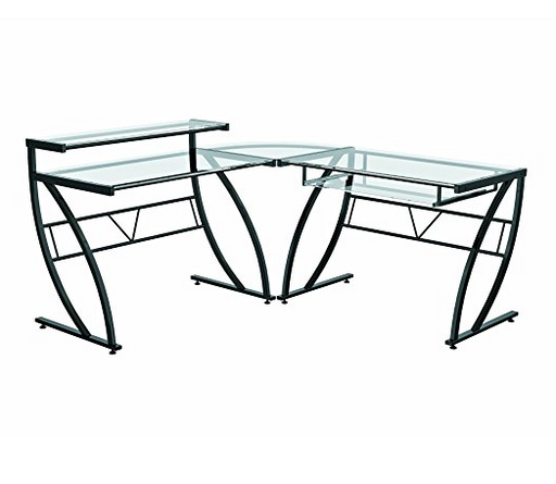 Contemporary L-Shaped Glass Office Desk by Z-Line Designs