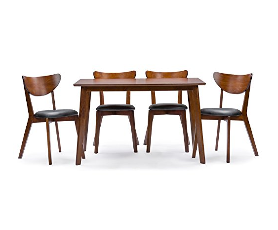 Mid-century Modern 5 Piece Dining Table and Chairs by Baxton Furniture