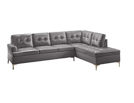 Modern Gray Leather Sectional Sofa by Homelegance